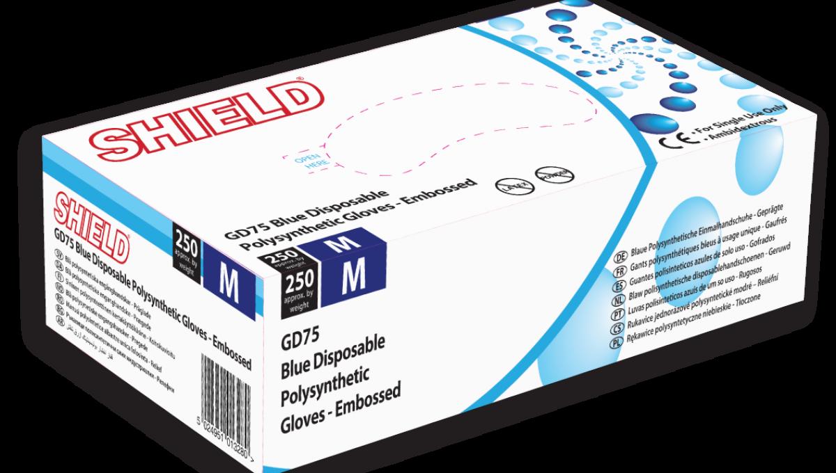 Blue Disposable Polysynthetic Gloves Medium