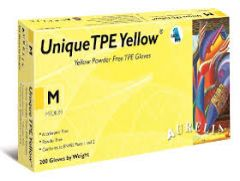 Unique TPE Yellow Powder Free Vinyl Gloves Medium