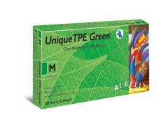 Unique TPE Green Powder Free Vinyl Gloves Medium