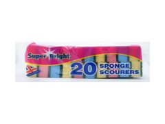 Small Sponge Scourers *Pack Of 10* Assorted Colours