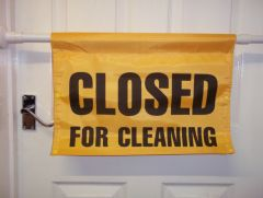 Closed For Cleaning Barrier Sign