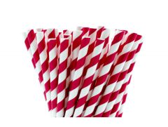 Red & White Striped Paper Straws 250's