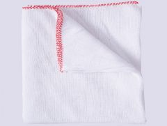Large White Dishcloths Red Border Pk10