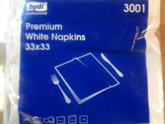 White 2Ply Napkins 33cm pack 100s